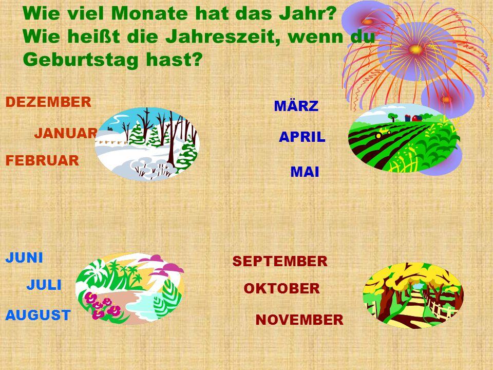 Wie viel Monate hat das Jahr.Wie heißt die Jahreszeit, wenn du Geburtstag hast.