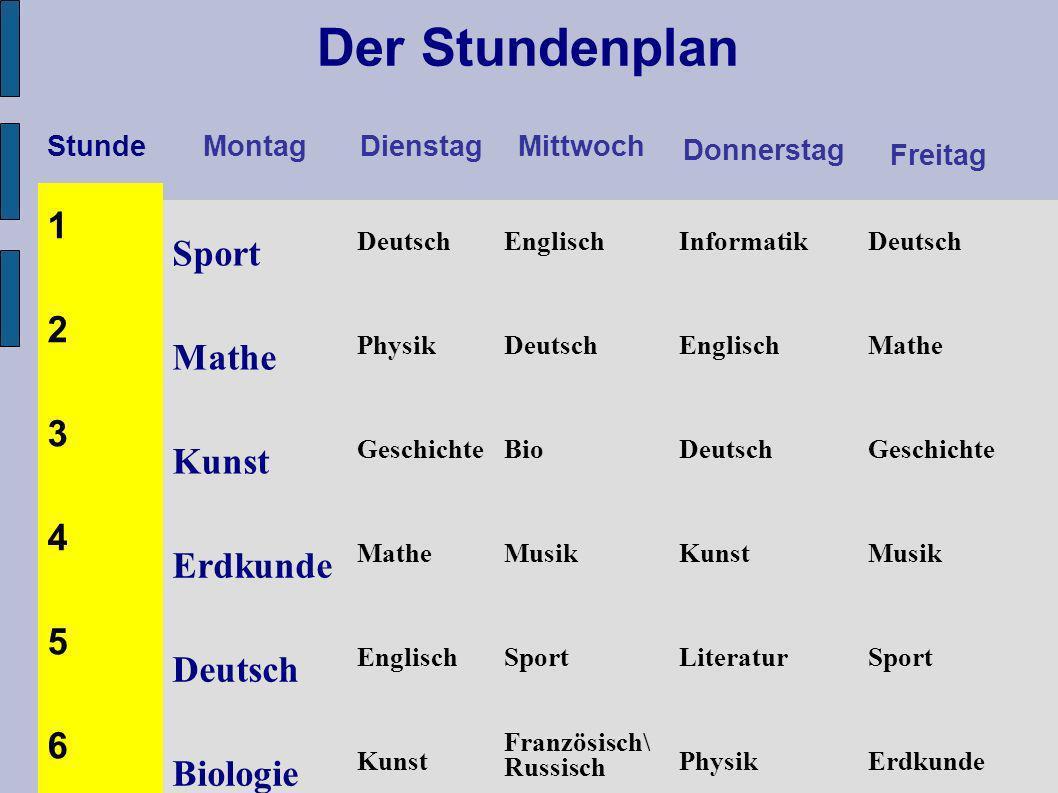 Stunde Montag DienstagMittwoch Donnerstag Freitag 1 Sport Deutsch EnglischInformatikDeutsch 2 Mathe PhysikDeutschEnglischMathe 3 Kunst Geschichte BioD