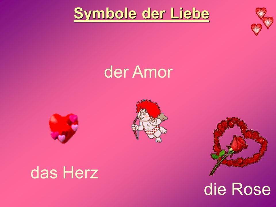 Symbole der Liebe das Herz die Rose der Amor