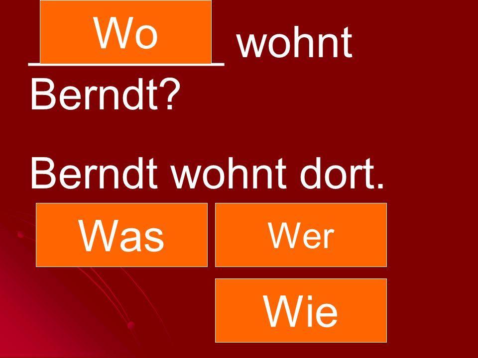 ________ wohnt Berndt? Berndt wohnt dort. Was Wer Wo Wie