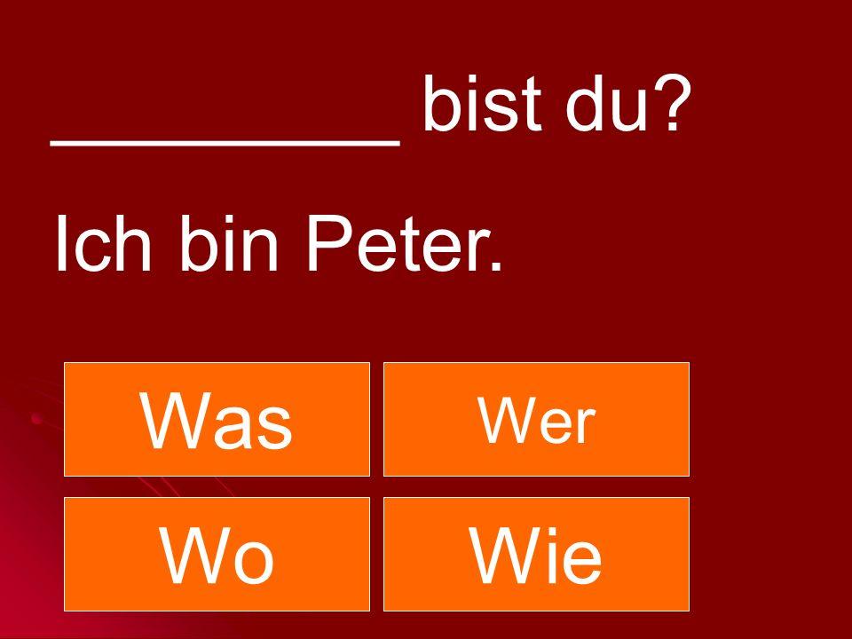 ________ bist du? Ich bin Peter. Was Wer WoWie