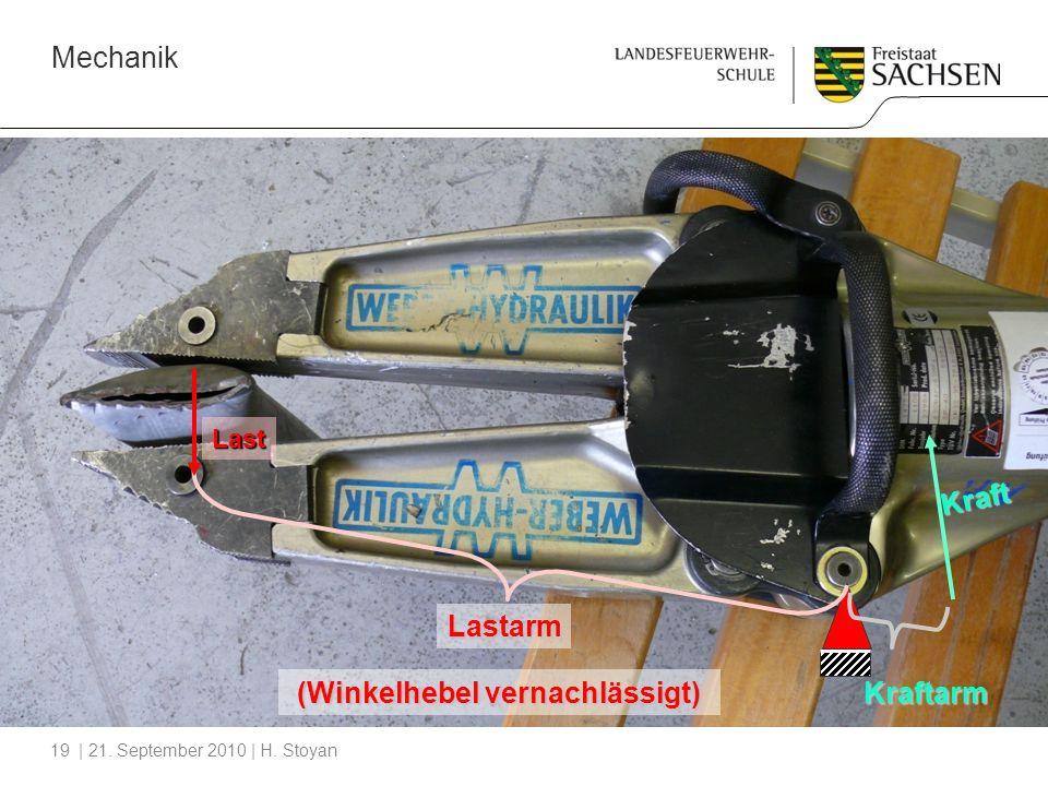 Mechanik | 21. September 2010 | H. Stoyan19 Lastarm Last Kraftarm Kraft (Winkelhebel vernachlässigt)