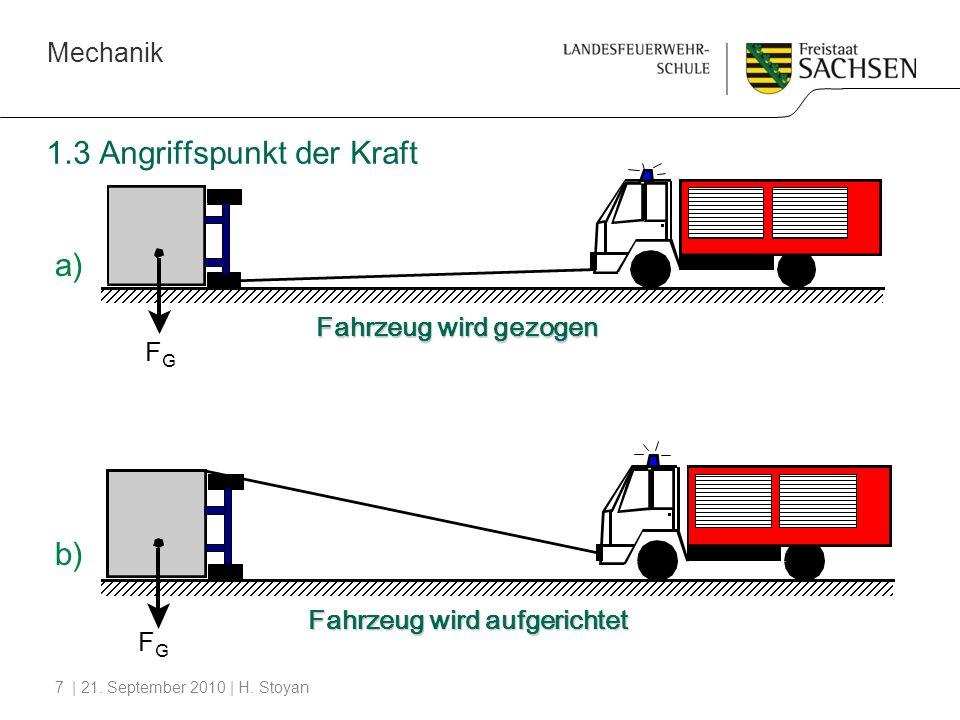 Mechanik | 21. September 2010 | H. Stoyan7 1.3 Angriffspunkt der Kraft Fahrzeug wird gezogen Fahrzeug wird aufgerichtet FGFG FGFG a) b)