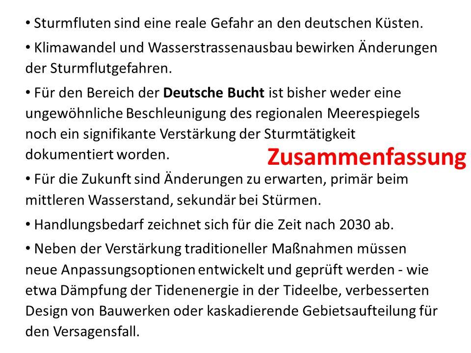 Sturmfluten sind eine reale Gefahr an den deutschen Küsten. Klimawandel und Wasserstrassenausbau bewirken Änderungen der Sturmflutgefahren. Für den Be