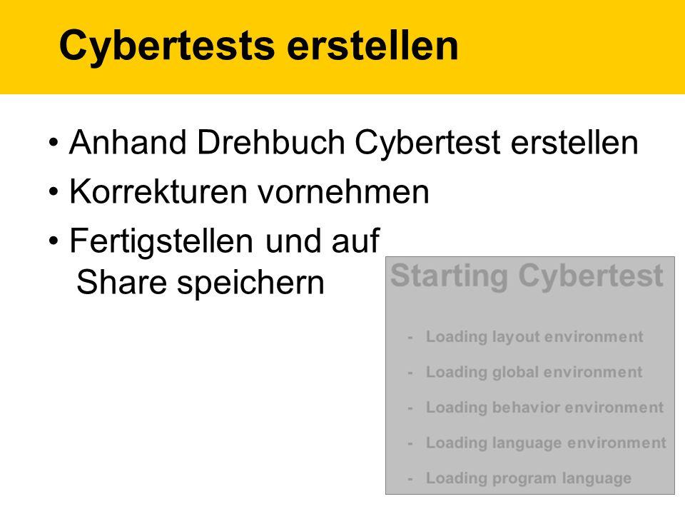 Cybertests erstellen Anhand Drehbuch Cybertest erstellen Korrekturen vornehmen Fertigstellen und auf Share speichern