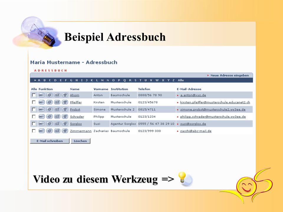Beispiel Adressbuch Video zu diesem Werkzeug =>