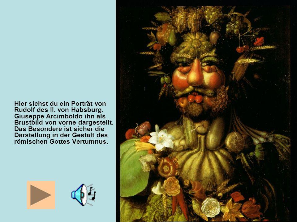 Hier siehst du ein Porträt von Rudolf des II. von Habsburg. Giuseppe Arcimboldo ihn als Brustbild von vorne dargestellt. Das Besondere ist sicher die