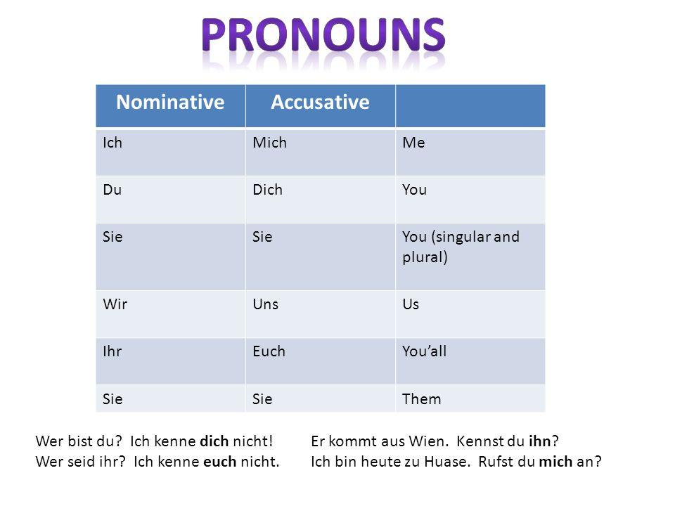 NominativeAccusative IchMichMe DuDichYou Sie You (singular and plural) WirUnsUs IhrEuchYouall Sie Them Wer bist du? Ich kenne dich nicht! Wer seid ihr