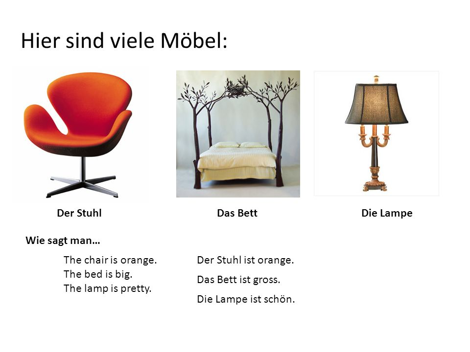 Hier sind viele Möbel: Der StuhlDas BettDie Lampe Wie sagt man… The chair is orange.