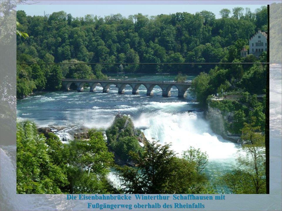 Der Rheinfall ist der größte Wasserfall Europas. Er befindet sich in der Schweiz bei Schaffhausen. Auf 150 m Breite stürzt der Rhein (vom Bodensee kom