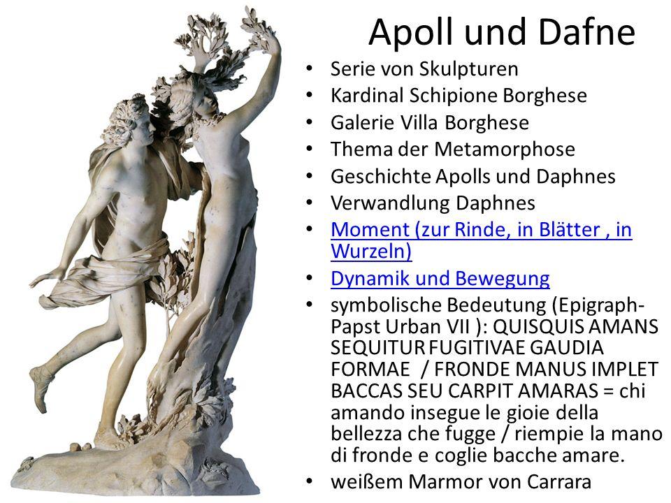 Apoll und Dafne Serie von Skulpturen Kardinal Schipione Borghese Galerie Villa Borghese Thema der Metamorphose Geschichte Apolls und Daphnes Verwandlu