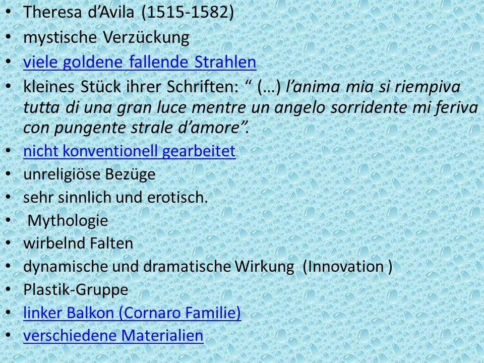 Theresa dAvila (1515-1582) mystische Verzückung viele goldene fallende Strahlen kleines Stück ihrer Schriften: (…) lanima mia si riempiva tutta di una
