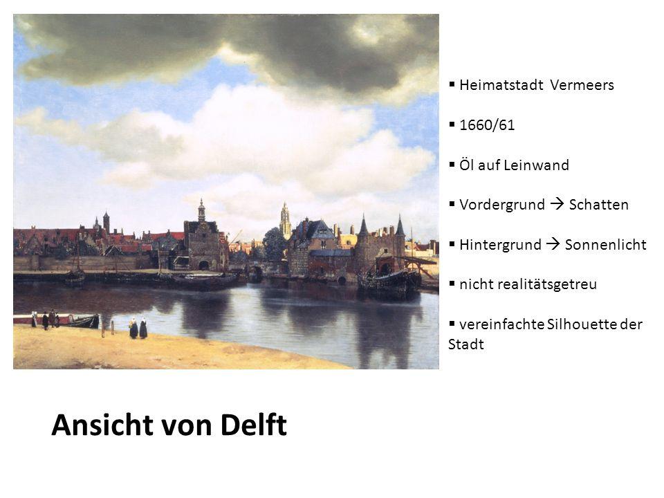 Ansicht von Delft Heimatstadt Vermeers 1660/61 Öl auf Leinwand Vordergrund Schatten Hintergrund Sonnenlicht nicht realitätsgetreu vereinfachte Silhoue