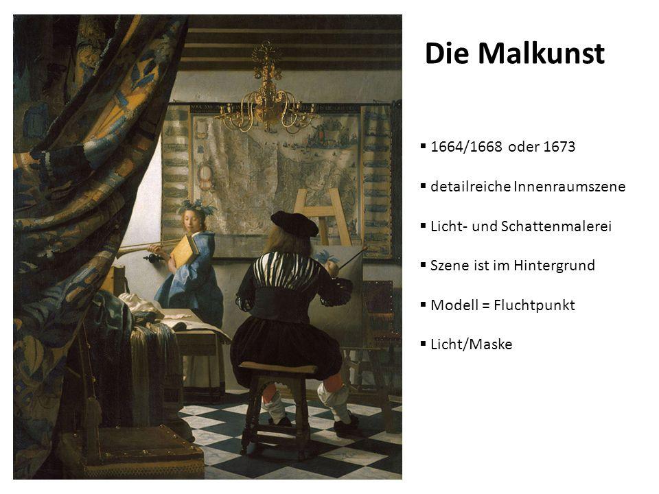 Die Malkunst 1664/1668 oder 1673 detailreiche Innenraumszene Licht- und Schattenmalerei Szene ist im Hintergrund Modell = Fluchtpunkt Licht/Maske