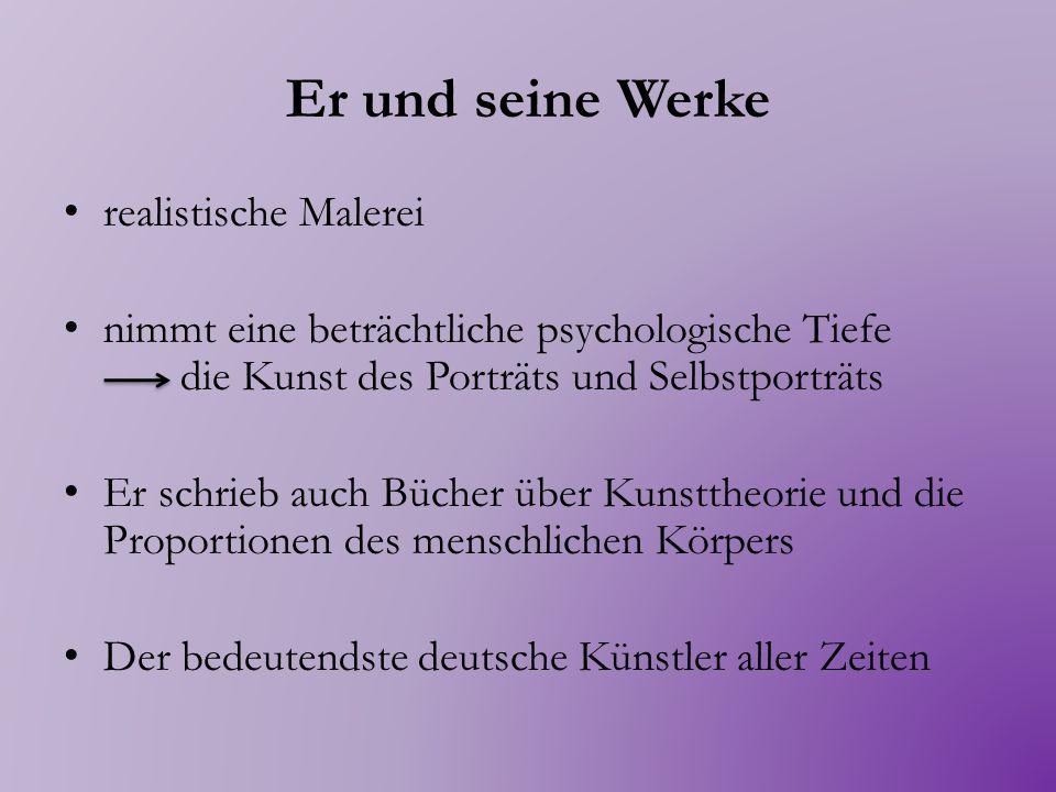 Die Heiligen Markus und Paulus Die Heiligen Johannes und Petrus Die vier Apostel 1526 Öl auf Holz Alte Pinakothek, München Sein wichtiges Werk Er will so nah wie möglich die Einfachheit der Natur erhalten