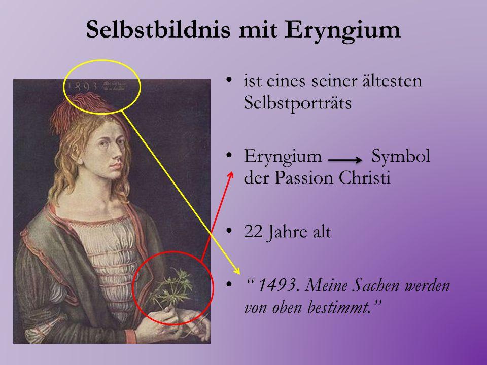 Selbstbildnis mit Landschaft Trägt Kleidung eines eleganten Patriziers Die Mütze entspricht der neuesten Mode seiner Zeit Die Alpen 1498.