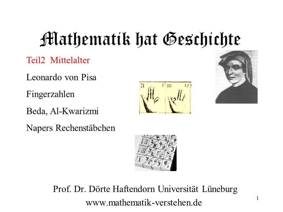 Mathematik hat Geschichte Prof. Dr. Dörte Haftendorn Universität Lüneburg www.mathematik-verstehen.de Teil2 Mittelalter Leonardo von Pisa Fingerzahlen