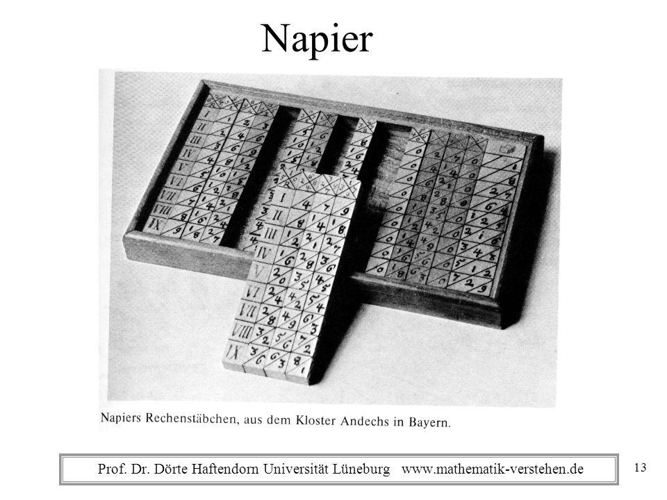 Prof. Dr. Dörte Haftendorn Universität Lüneburg www.mathematik-verstehen.de Napier 13
