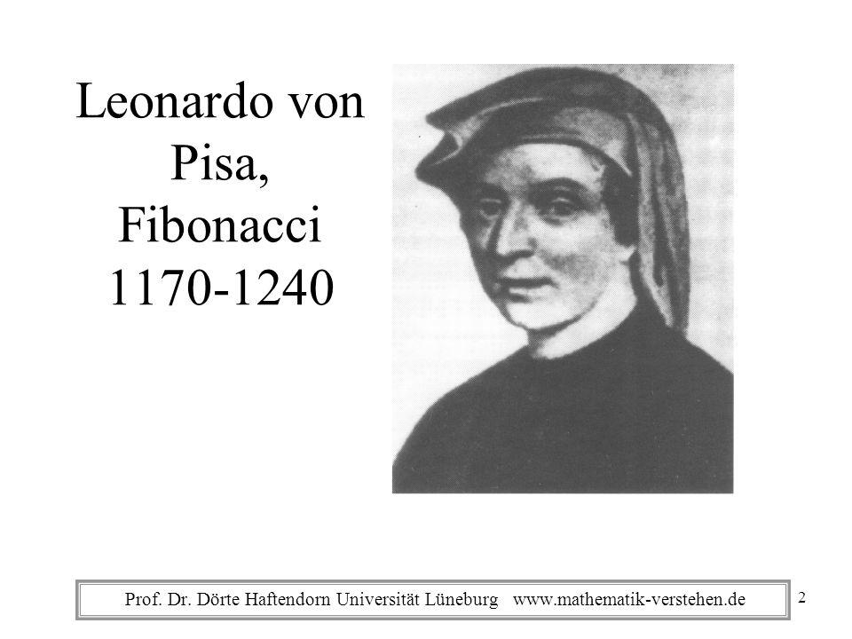 Prof. Dr. Dörte Haftendorn Universität Lüneburg www.mathematik-verstehen.de Leonardo von Pisa, Fibonacci 1170-1240 2