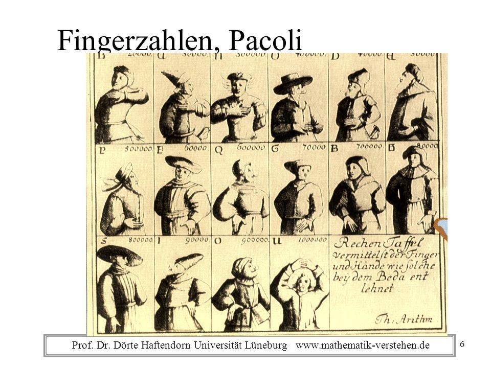 Prof. Dr. Dörte Haftendorn Universität Lüneburg www.mathematik-verstehen.de Fingerzahlen, Pacoli 6