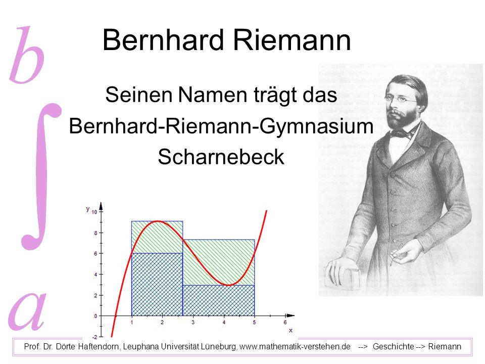 Bernhard Riemann Prof. Dr. Dörte Haftendorn, Leuphana Universität Lüneburg, www.mathematik-verstehen.de --> Geschichte --> Riemann Seinen Namen trägt