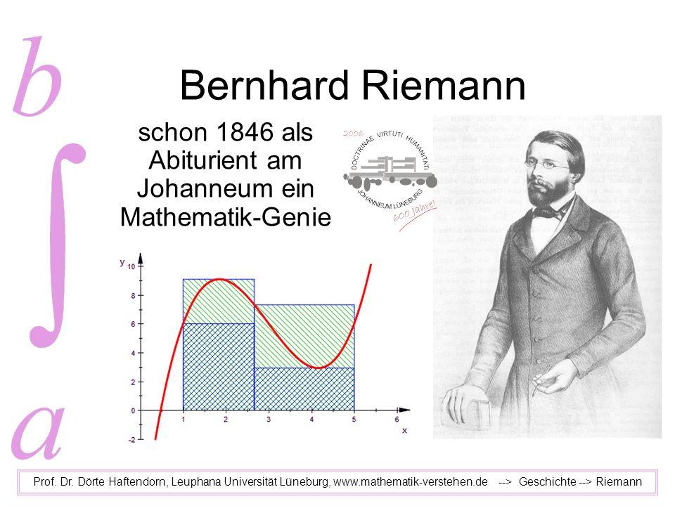 Bernhard Riemann schon 1846 als Abiturient am Johanneum ein Mathematik-Genie Prof. Dr. Dörte Haftendorn, Leuphana Universität Lüneburg, www.mathematik