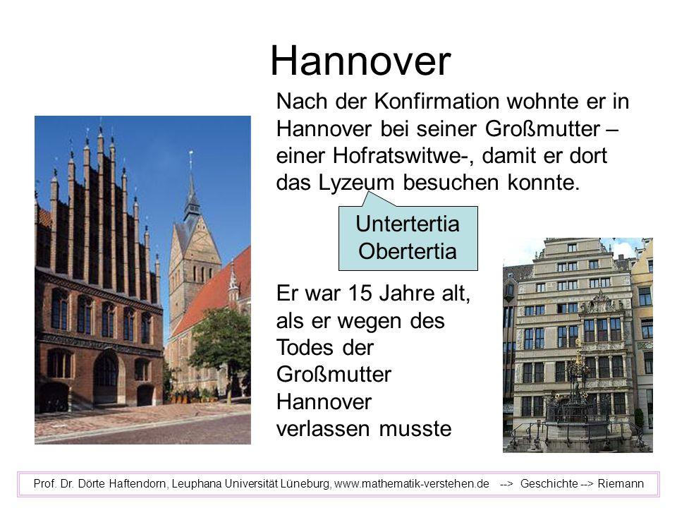 Hannover Prof. Dr. Dörte Haftendorn, Leuphana Universität Lüneburg, www.mathematik-verstehen.de --> Geschichte --> Riemann Nach der Konfirmation wohnt