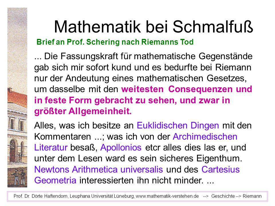 Mathematik bei Schmalfuß Prof. Dr. Dörte Haftendorn, Leuphana Universität Lüneburg, www.mathematik-verstehen.de --> Geschichte --> Riemann Brief an Pr