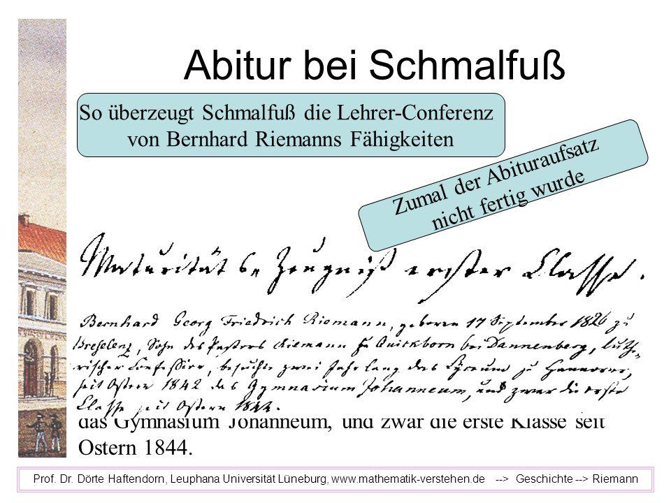 Bernhard Georg Friedrich Riemann, geboren 17. September 1826 zu Breselenz, Sohn des Pastors Riemann zu Quickborn bei Dannenberg, lutherischer Konfessi