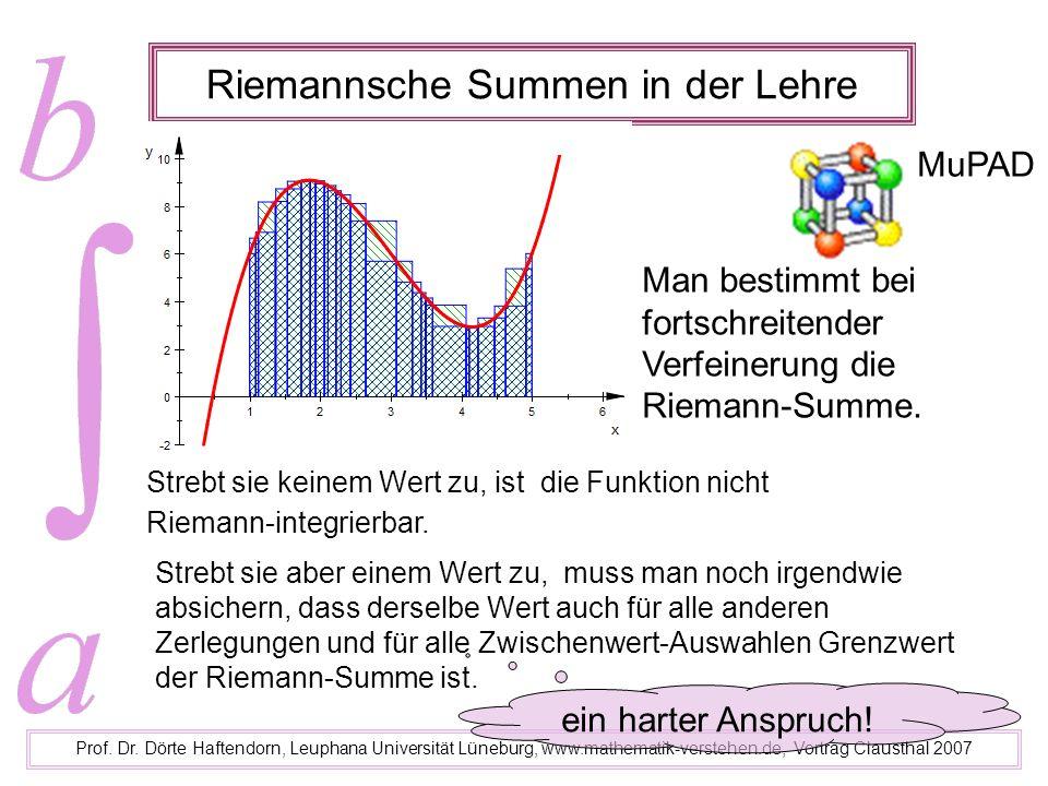 Riemannsche Summen in der Lehre Prof. Dr. Dörte Haftendorn, Leuphana Universität Lüneburg, www.mathematik-verstehen.de, Vortrag Clausthal 2007 MuPAD S