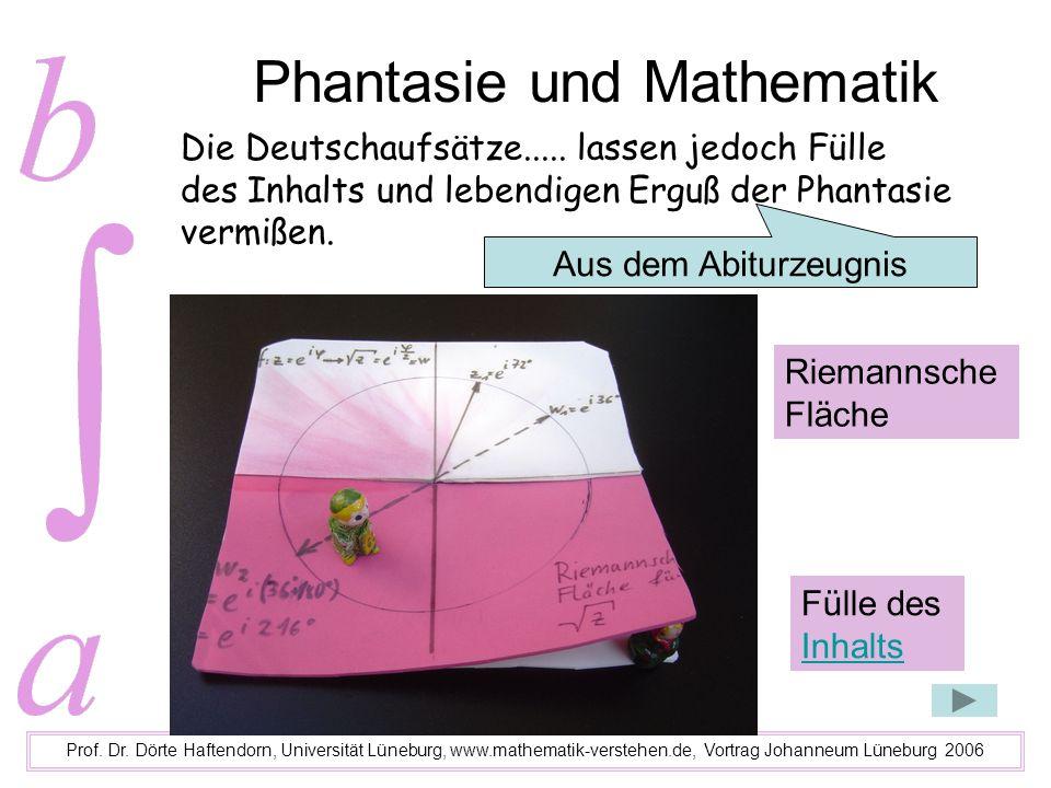 Phantasie und Mathematik Prof. Dr. Dörte Haftendorn, Universität Lüneburg, www.mathematik-verstehen.de, Vortrag Johanneum Lüneburg 2006 Die Deutschauf