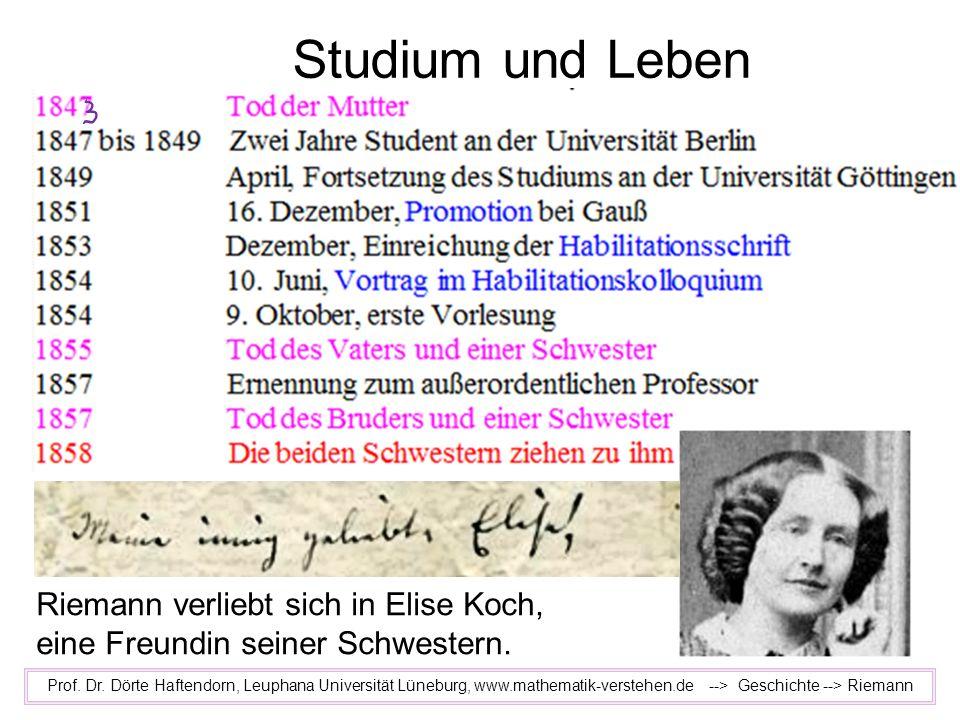 Studium und Leben Prof. Dr. Dörte Haftendorn, Leuphana Universität Lüneburg, www.mathematik-verstehen.de --> Geschichte --> Riemann Riemann verliebt s