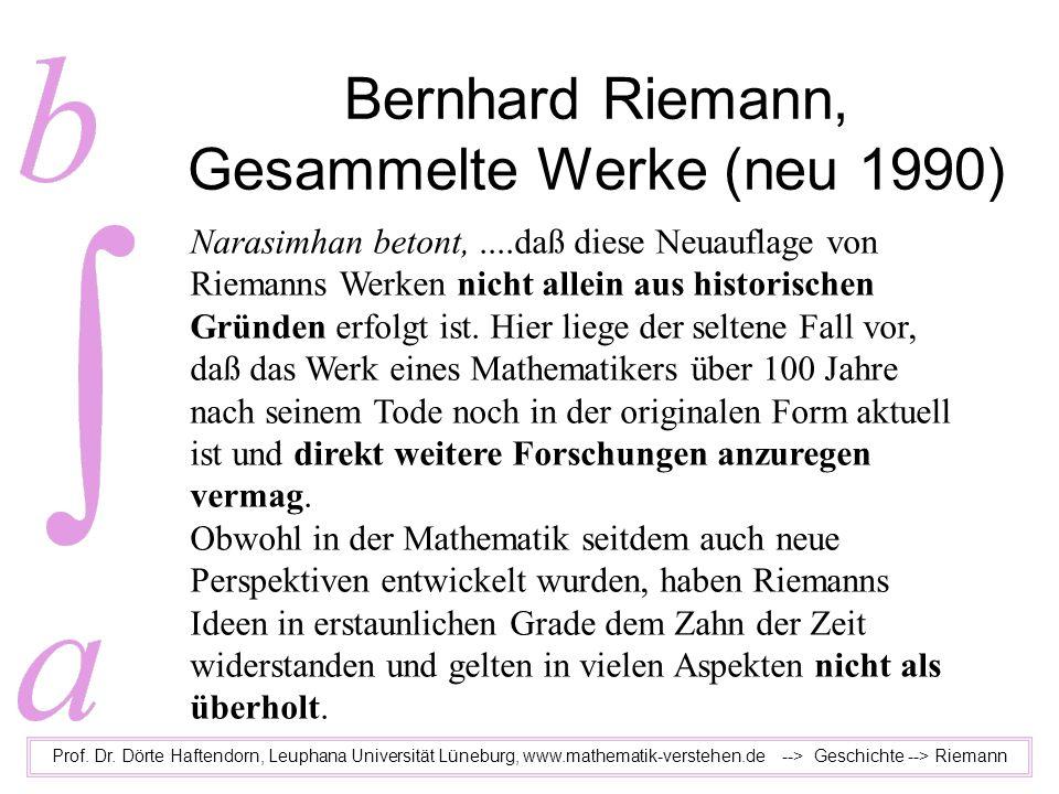 Bernhard Riemann, Gesammelte Werke (neu 1990) Prof. Dr. Dörte Haftendorn, Leuphana Universität Lüneburg, www.mathematik-verstehen.de --> Geschichte --