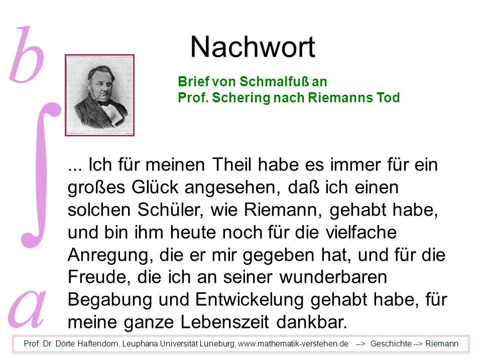 Nachwort Prof. Dr. Dörte Haftendorn, Leuphana Universität Lüneburg, www.mathematik-verstehen.de --> Geschichte --> Riemann... Ich für meinen Theil hab