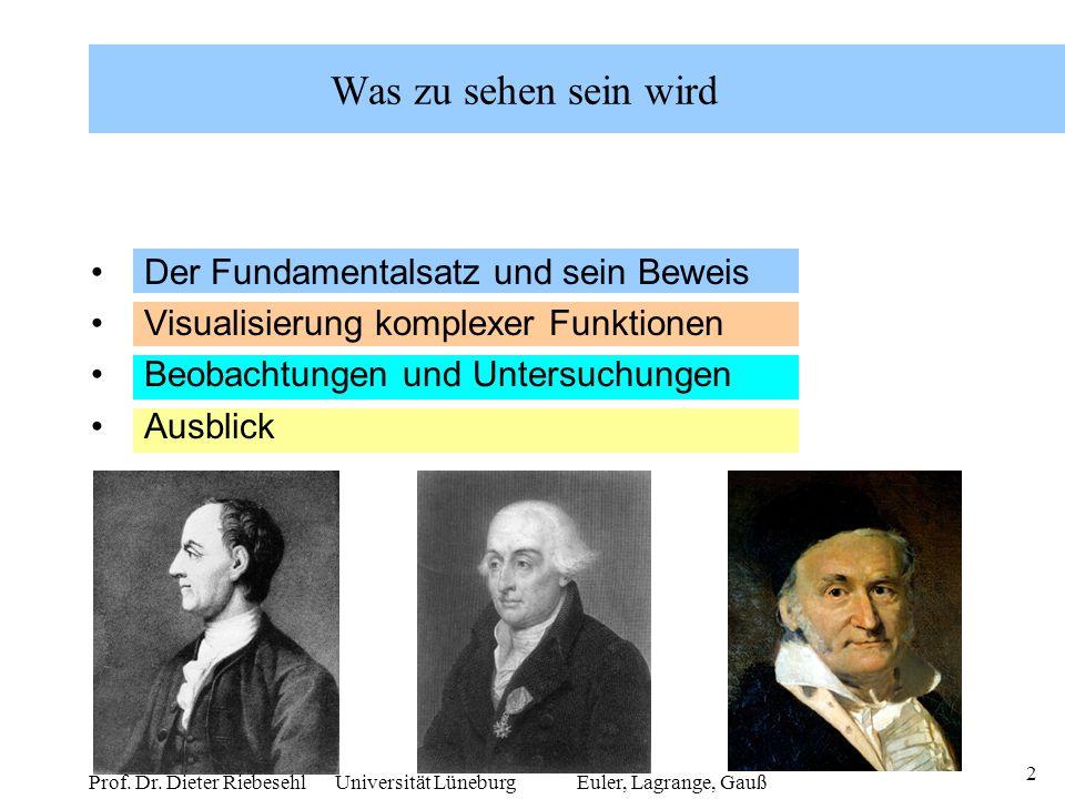 2 Prof. Dr. Dieter Riebesehl Universität Lüneburg Was zu sehen sein wird Der Fundamentalsatz und sein Beweis Visualisierung komplexer Funktionen Beoba