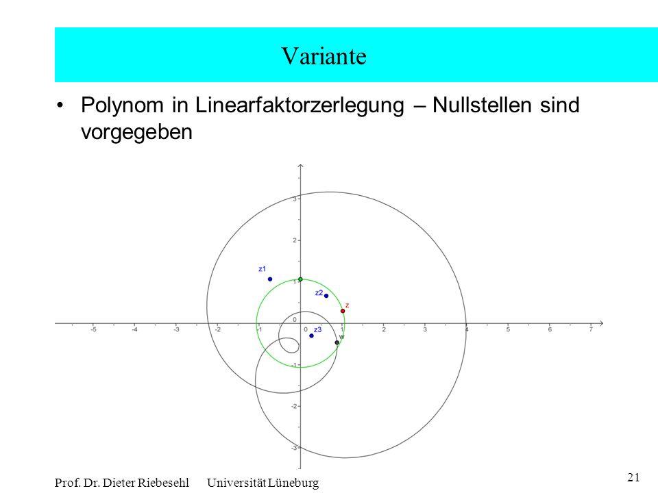21 Prof. Dr. Dieter Riebesehl Universität Lüneburg Variante Polynom in Linearfaktorzerlegung – Nullstellen sind vorgegeben