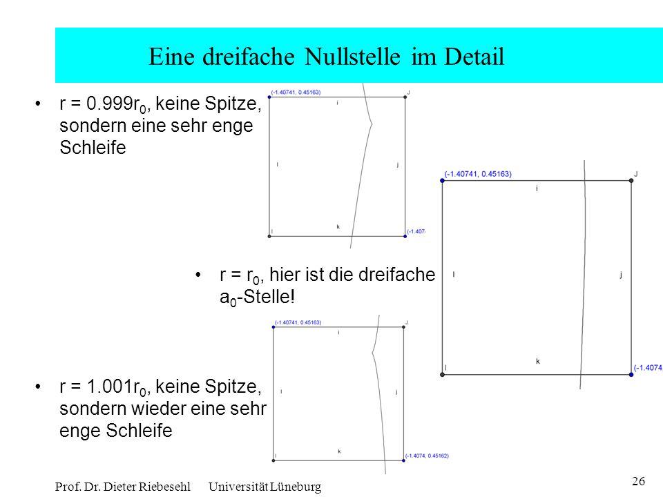 26 Prof. Dr. Dieter Riebesehl Universität Lüneburg Eine dreifache Nullstelle im Detail r = 0.999r 0, keine Spitze, sondern eine sehr enge Schleife r =