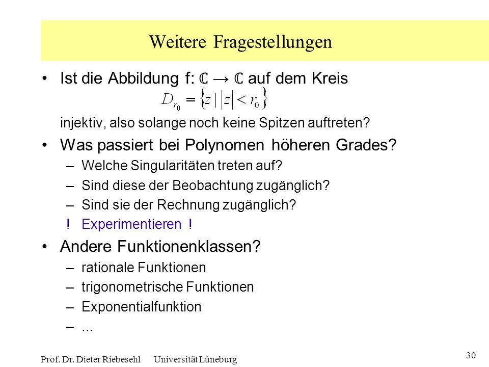 30 Prof. Dr. Dieter Riebesehl Universität Lüneburg Weitere Fragestellungen Ist die Abbildung f: auf dem Kreis injektiv, also solange noch keine Spitze