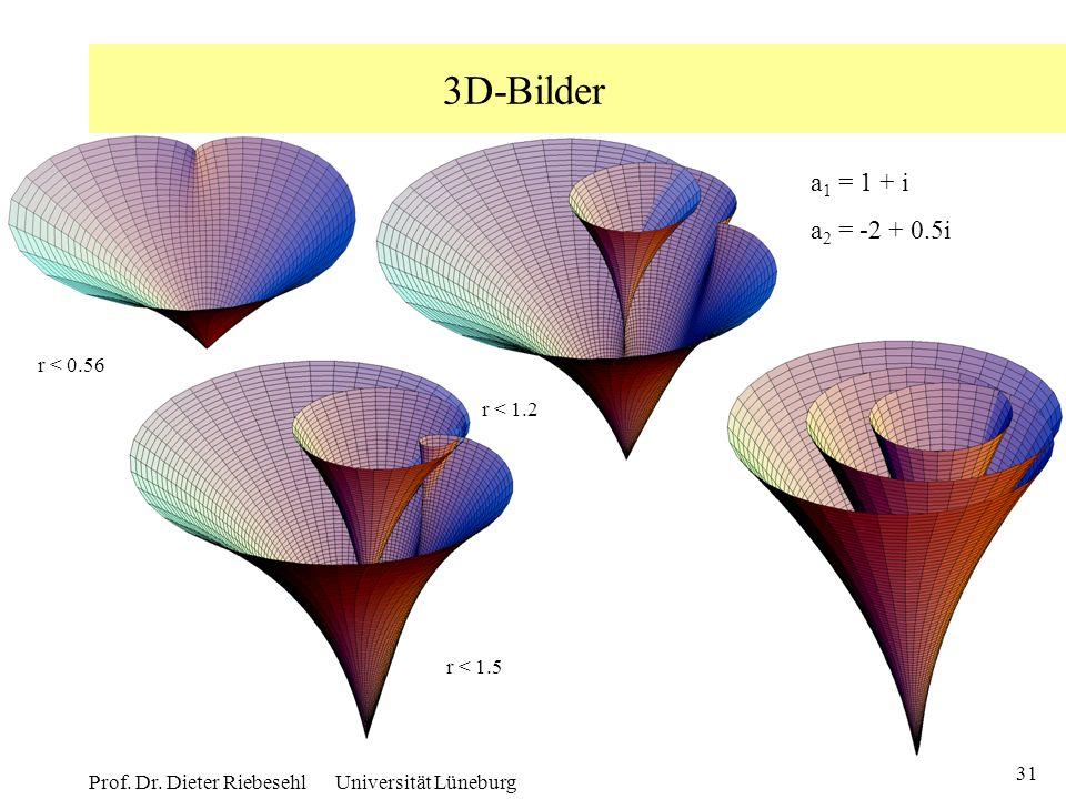31 Prof. Dr. Dieter Riebesehl Universität Lüneburg 3D-Bilder r < 0.56 r < 1.2 r < 1.5 r < 3.0 a 1 = 1 + i a 2 = -2 + 0.5i