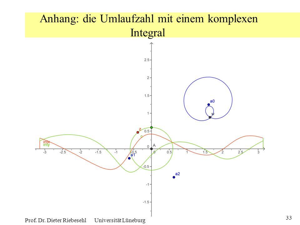 33 Prof. Dr. Dieter Riebesehl Universität Lüneburg Anhang: die Umlaufzahl mit einem komplexen Integral