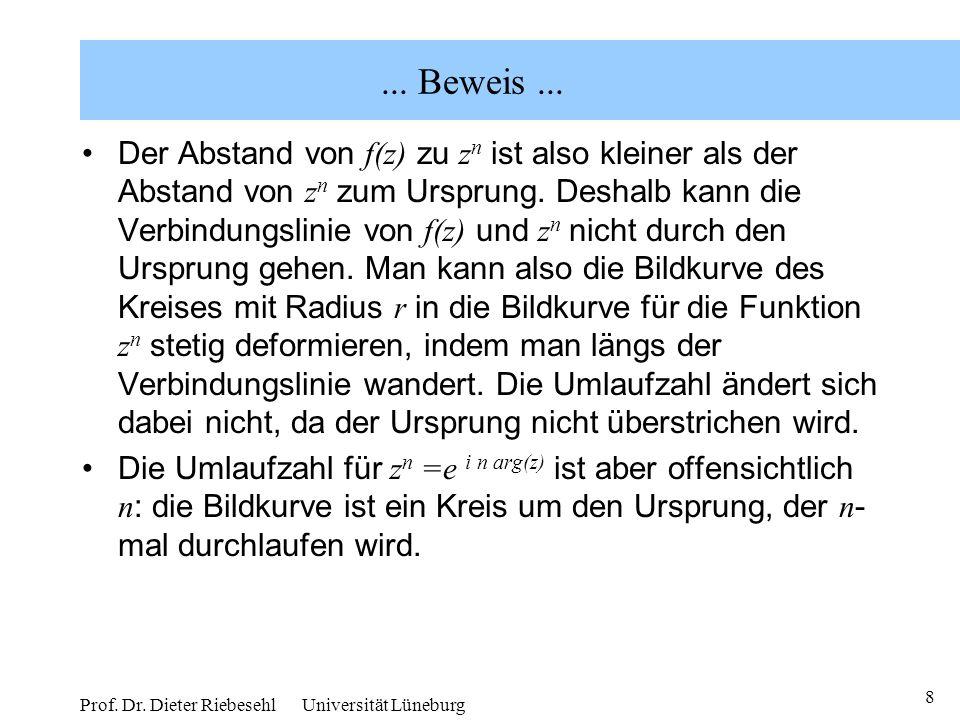 8 Prof. Dr. Dieter Riebesehl Universität Lüneburg... Beweis... Der Abstand von f(z) zu z n ist also kleiner als der Abstand von z n zum Ursprung. Desh
