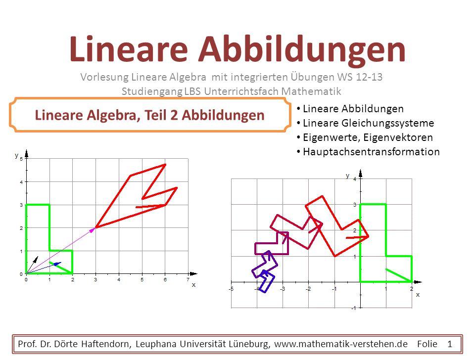 Lineare Abbildungen Vorlesung Lineare Algebra mit integrierten Übungen WS 12-13 Studiengang LBS Unterrichtsfach Mathematik Prof. Dr. Dörte Haftendorn,