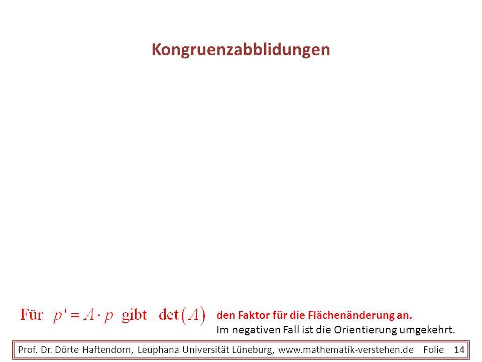 Kongruenzabblidungen Prof. Dr. Dörte Haftendorn, Leuphana Universität Lüneburg, www.mathematik-verstehen.de Folie 14 den Faktor für die Flächenänderun