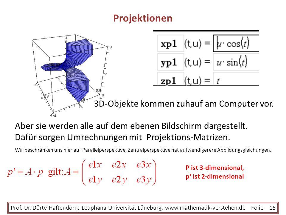 Projektionen Prof. Dr. Dörte Haftendorn, Leuphana Universität Lüneburg, www.mathematik-verstehen.de Folie 15 P ist 3-dimensional, p ist 2-dimensional