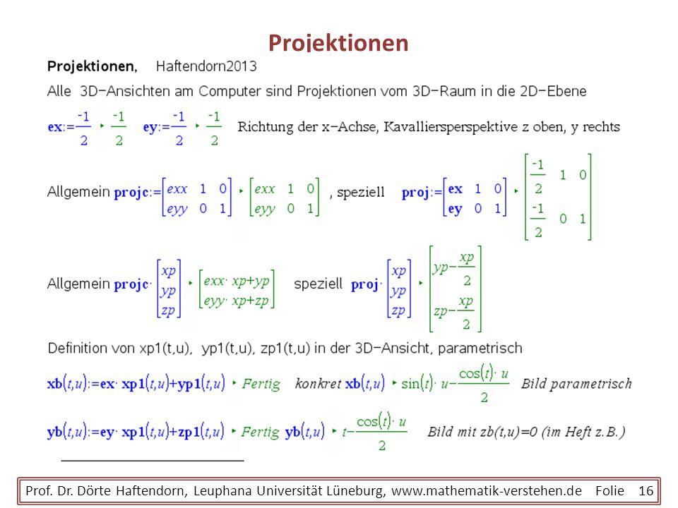 Projektionen Prof. Dr. Dörte Haftendorn, Leuphana Universität Lüneburg, www.mathematik-verstehen.de Folie 16