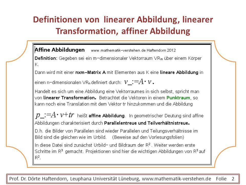 Definitionen von linearer Abbildung, linearer Transformation, affiner Abbildung Prof. Dr. Dörte Haftendorn, Leuphana Universität Lüneburg, www.mathema