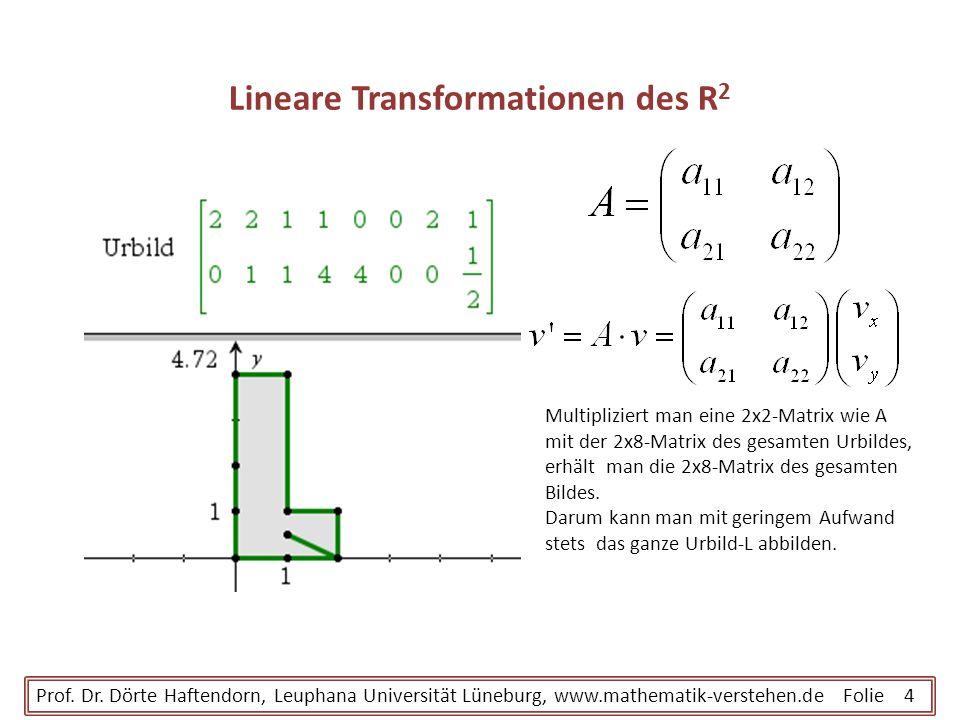 Lineare Transformationen des R 2 Prof. Dr. Dörte Haftendorn, Leuphana Universität Lüneburg, www.mathematik-verstehen.de Folie 4 Multipliziert man eine