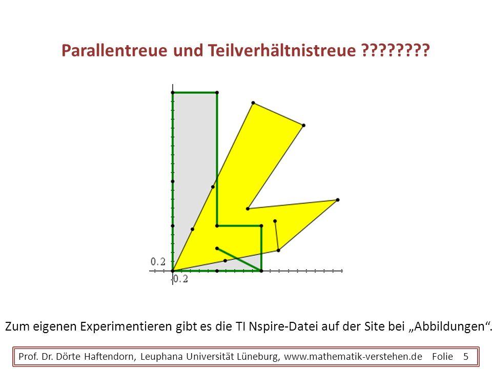 Parallentreue und Teilverhältnistreue ???????? Prof. Dr. Dörte Haftendorn, Leuphana Universität Lüneburg, www.mathematik-verstehen.de Folie 5 Zum eige