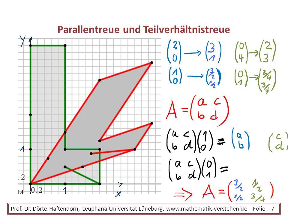 Parallentreue und Teilverhältnistreue Prof. Dr. Dörte Haftendorn, Leuphana Universität Lüneburg, www.mathematik-verstehen.de Folie 7