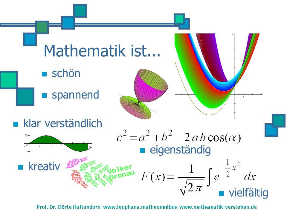 Mathematik ist...schön vielfältig klar verständlich kreativ spannend eigenständig Prof.